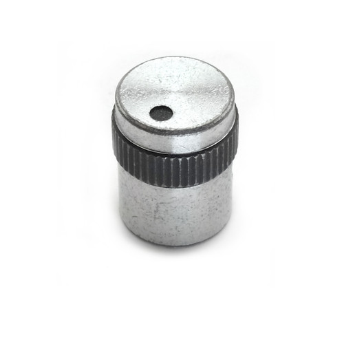 """Silver aluminum knob with black dot indicator and grip ring (16 x 11.75mm) - """"The Eclipse"""""""
