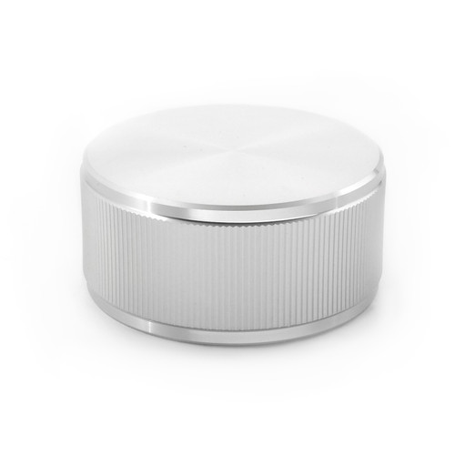 "41mm diameter - Clear Anodized Aluminum Knob - ""Full Moon"" - for 1/4"" smooth shaft potentiometers"