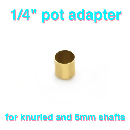 """Brass potentiometer adapter sleeve - 6.0mm to 1/4"""" smooth shaft"""