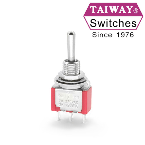 Taiway toggle switch - SPDT On Off On Switch - Solder Lug - Long Shaft
