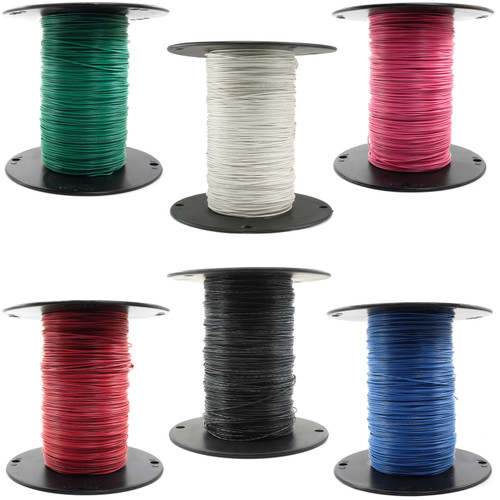Hook-Up Wire - 6 colors of 24 gauge, pre-bond copper wire in 1,000-foot spools