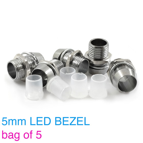 5mm Chrome Metal LED Bezel with washer, nut, and insulator