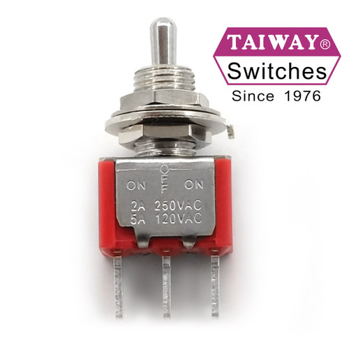 Taiway toggle switch - SPDT On Off On Switch - PCB Mount - Short Shaft