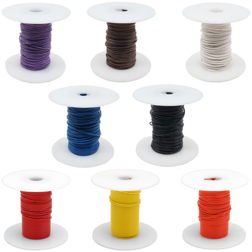 Hook-Up Wire - 8 colors of 24 gauge, pre-bond copper wire in 100-foot spools