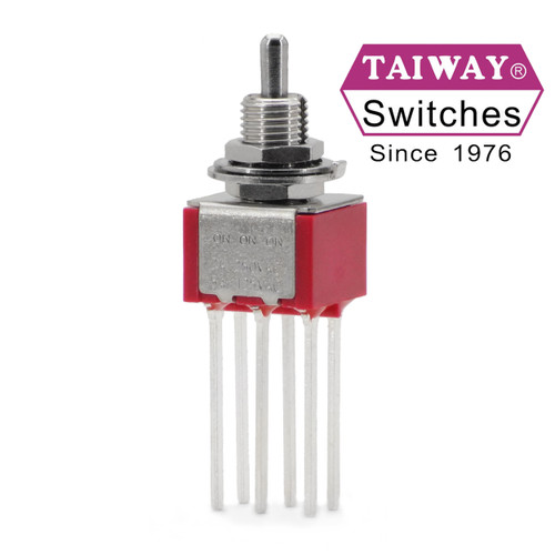 Taiway DPDT On On On toggle switch - Long Pin PCB terminals - Short Shaft actuator