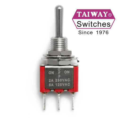 Taiway SPDT On Off On toggle switch with long shaft actuator and PCB mount terminals