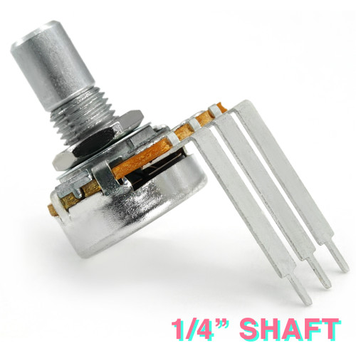 "Long-pin right-angle PCB mount 16mm potentiometer with smooth 1/4"" shaft"