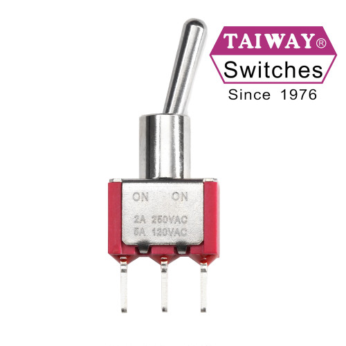 Taiway SPDT On On Switch - PCB - Long Shaft - Non-Threaded Bushing