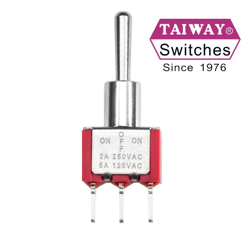 Taiway SPDT On Off On Switch - PCB - Long Shaft - Non-Threaded Bushing