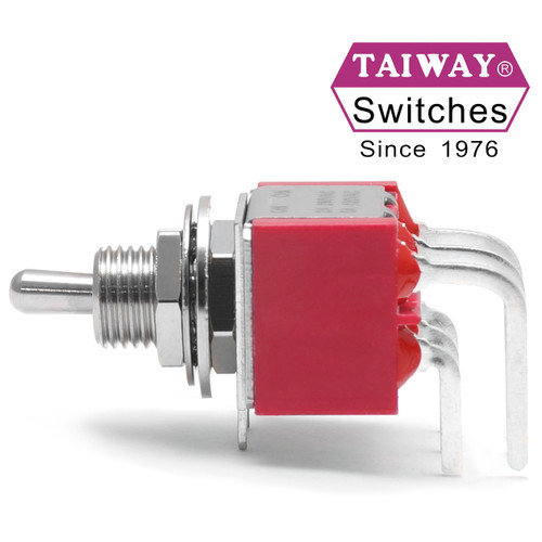 Taiway DPDT On On Switch - Right Angle PCB - Short Shaft