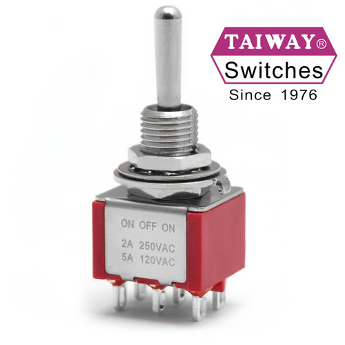 Taiway toggle switch - DPDT On Off On miniature toggle - Solder Lug - Long Shaft