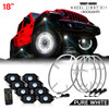 LED Wheel Light Kit White with Amber Signal and 8 Rock Lights Wireless 15 or 18 Inches