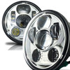 5.75 (5 3/4) In LED Projector Headlights Round DOT V2 Chrome Set