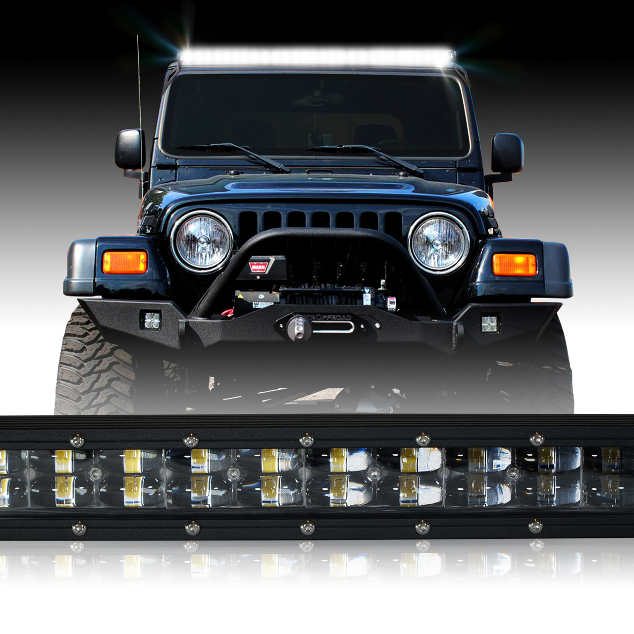 LED Light Bar 288W 50 Inches cket Wiring Harness Kit for Wrangler TJ on
