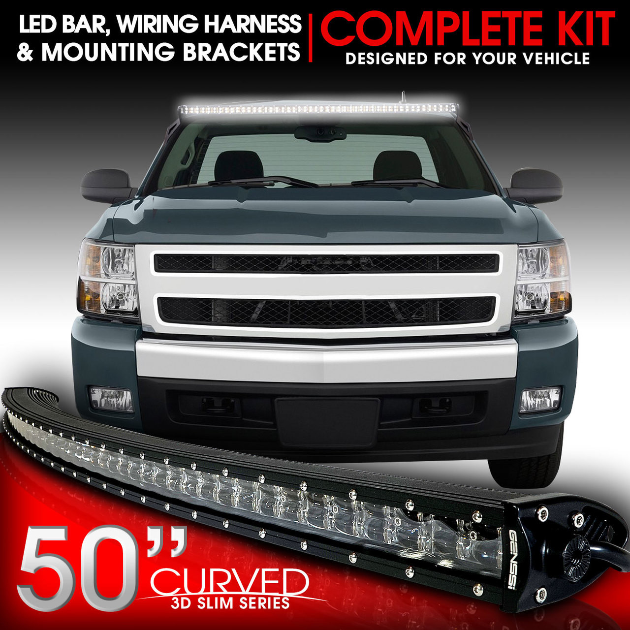 led light bar curved 288w 50 inches bracket wiring harness kit for gmc  sierra chevy silverado