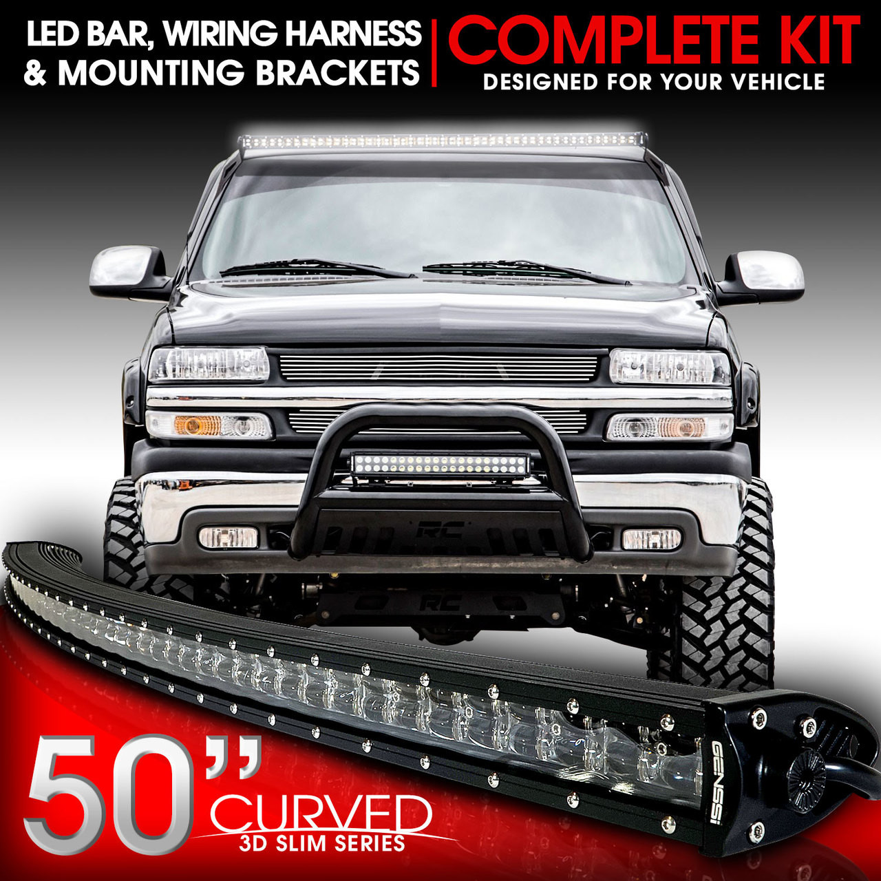 Tremendous Led Light Bar Curved 288W 50 Inches Bracket Wiring Harness Kit For Wiring Digital Resources Bemuashebarightsorg