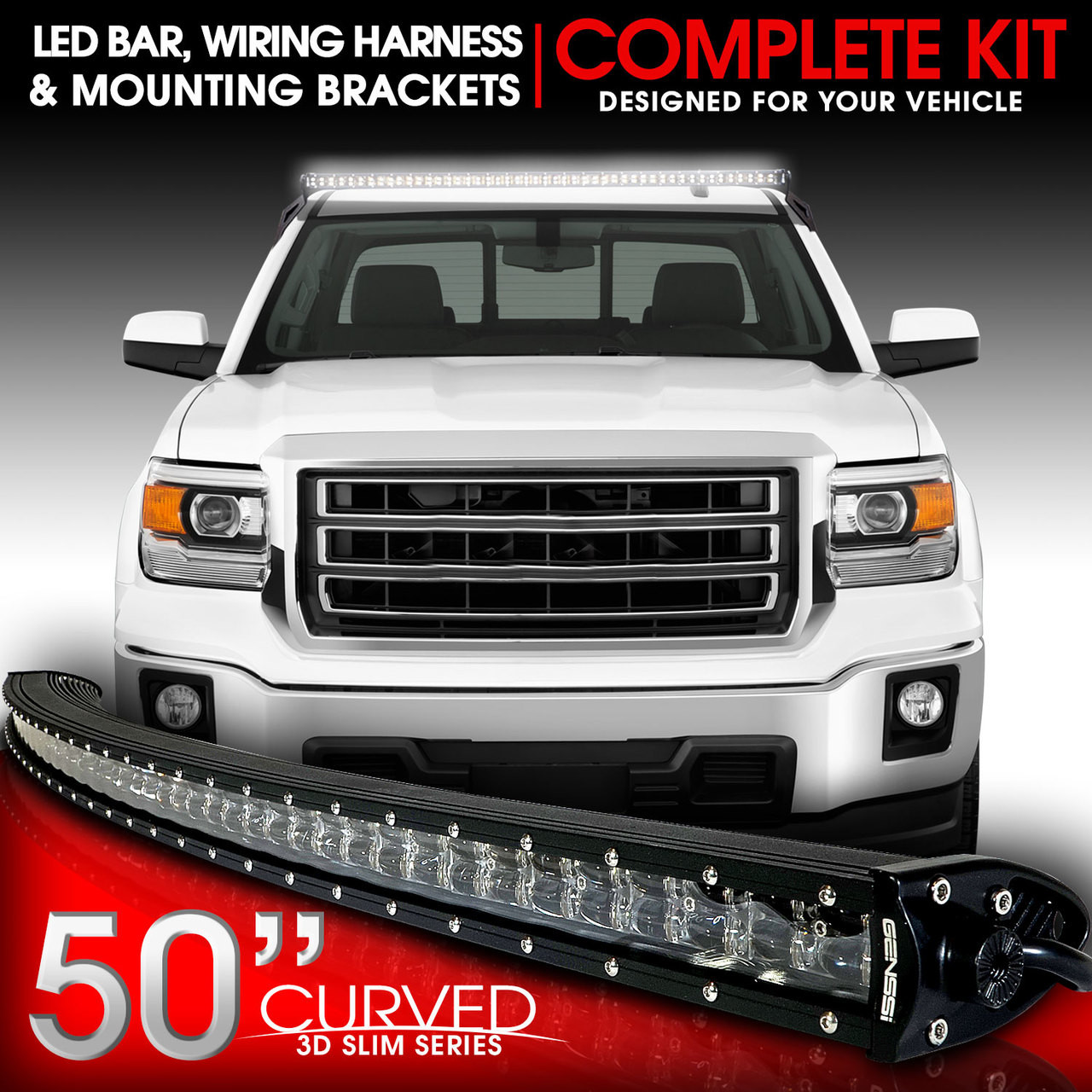 Wiring Harness For 2014 Gmc Sierra Diagram Libraries Silverado Ebay Led Light Bar Curved 288w 50 Inches Bracket Kit Forled