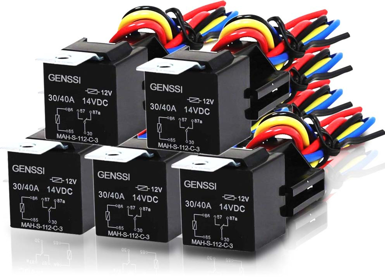 5 PIN 40A Relay and Wire Harness SPDT 12V (5 Pack) Genssi Led Wiring Diagram on