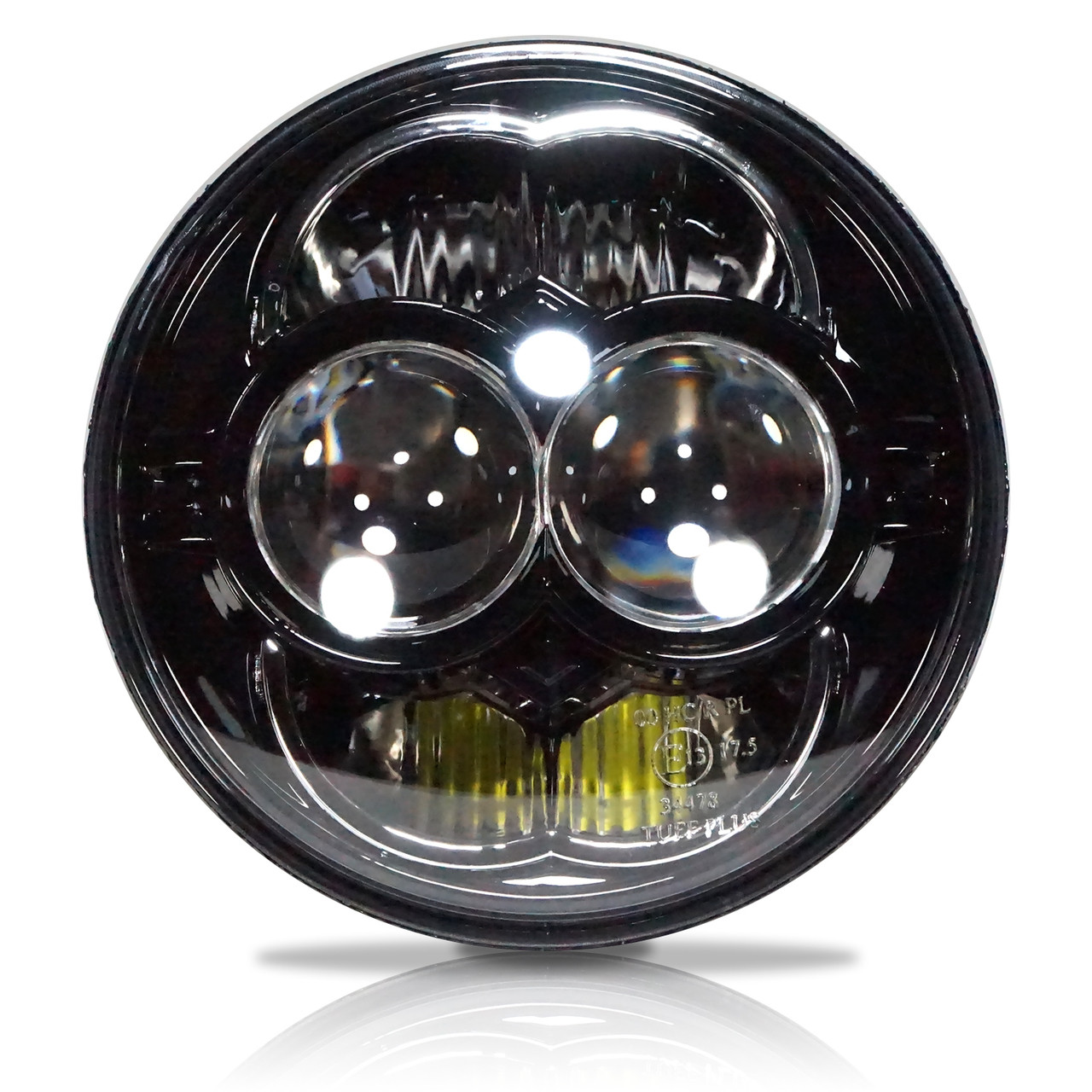 5 75 5 3 4 Inch Led Black Projector Motorcycle Headlight Round Dot