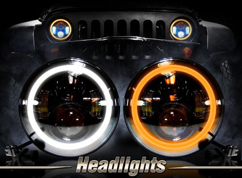 7 Inch Halo Projector Black LED Headlights Set