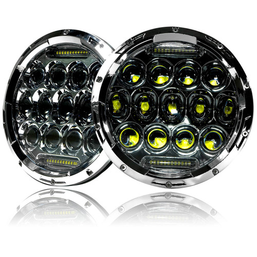 7 Inch Honeycomb Array Chrome LED Headlights Set