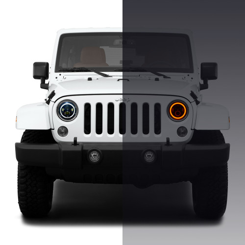 7 Inch HALO RGB Color Projector LED Headlights & Fog Lights Kit for Wrangler JK 2007-2017