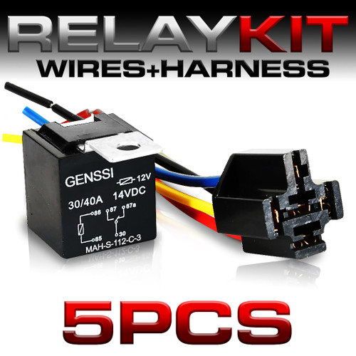 Peachy 5 Pin 40A Relay And Wire Harness Spdt 12V 5 Pack Genssi Wiring 101 Capemaxxcnl