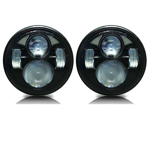 5.75 (5 3/4) Inch LED Black  Projector Headlights Round Set