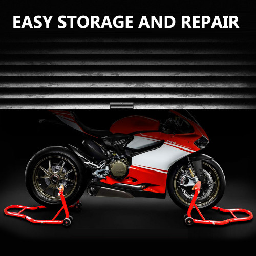 Motorcycle Bike Stand Forklift Spoolift Paddock Swingarm Lift Rear Red