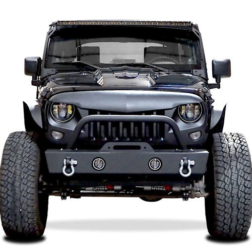 Stubby Rock Crawler Front Bumper with LED Fog Lamps for Wrangler JK 2007-2017