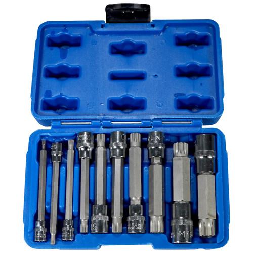 10pc XZN Triple Square Socket Kit Spline Socket Bit Set Long Drive Metric Bits