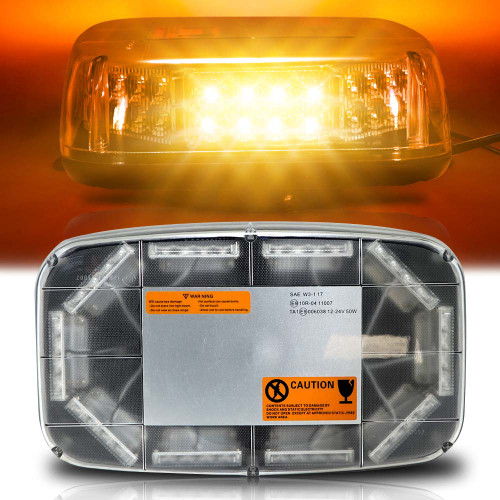 80W Amber Pro LED Roof Top Flash Emergency Warning Mini Strobe Light Bar