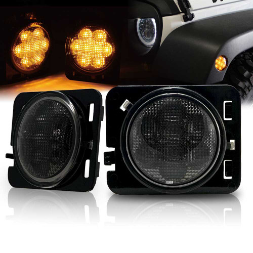 LED Sidemarker Smoked Lens Lights for Jeep Wrangler JK 2007-2017