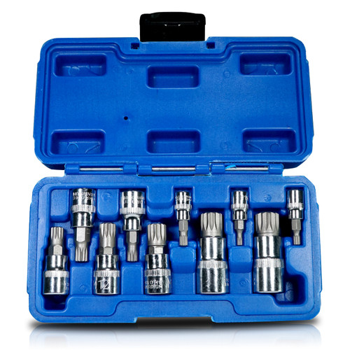 10pc XZN Triple Square Short Spline Socket Bit Set