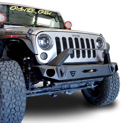 Front High Rise Bull Bar Bumper w/Light Bar Holder w/OEM Fog Holes for Wrangler 2007-2018