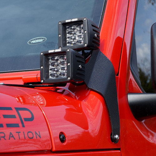 LED Pillar Windshield 4x Cube Kit for Jeep Wrangler JL 2018+