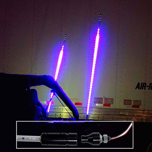 Dual LED Whip Light Off Road Flag Wireless Color Changing Synced