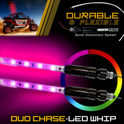 Dual LED Whip Light Off Road Flag Wireless Color Changing Synced 5FT