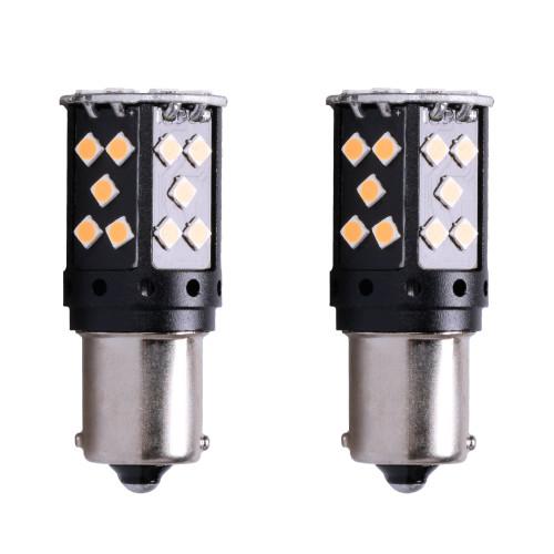 1156 7506 No Hyper Flash Super Canbus LED Bulbs Amber (2 Pack)