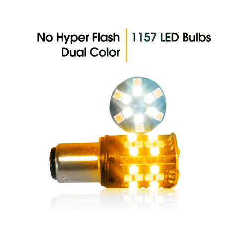 1157 No Hyper Flash Super Canbus LED Bulbs Amber White (2 Pack)