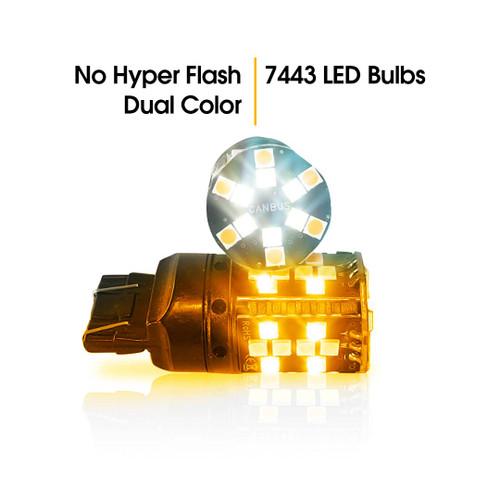 7443 No Hyper Flash Super Canbus LED Bulbs Amber White (2 Pack)