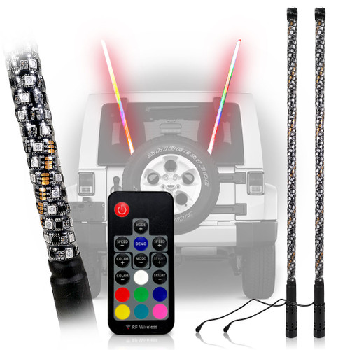 LED RGB Whip Light Off Road Flag Wireless Color Changing Synced 3FT 4FT 5FT