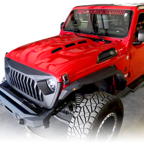 Avenger Style ABS Vents Hood for Jeep Wrangler JL JLU JT 2018 up