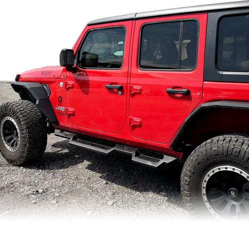 Running Boards Side Steps Rail Steps Rock Sliders for Jeep Wrangler JLU 4dr 2018 up