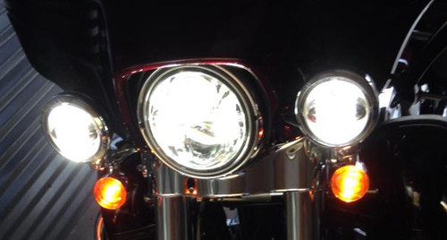 """4-1/2"""" Chrome LED Auxiliary Spot Fog Passing Light Lamp For Harley Motorcycle"""