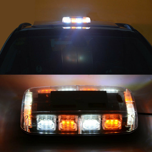 White Amber 36 LED Emergency Strobe Light Flash Beacon Lamp