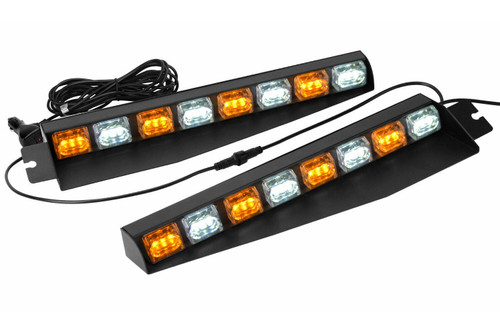 "Amber/White 17"" 48 LED Emergency Strobe Visor Light Bars"