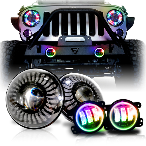 7 Inch DEMON EYE LED Headlights with Remote Control with Matching Fog Lamps