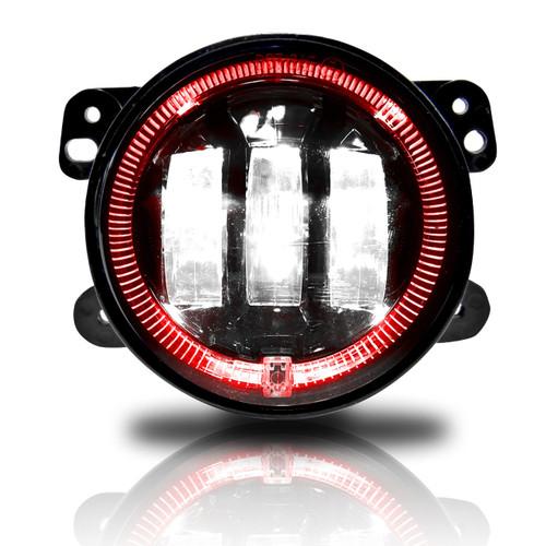 4 Inch LED Red Halo Fog Lamp Lights For Jeep Wrangler JK