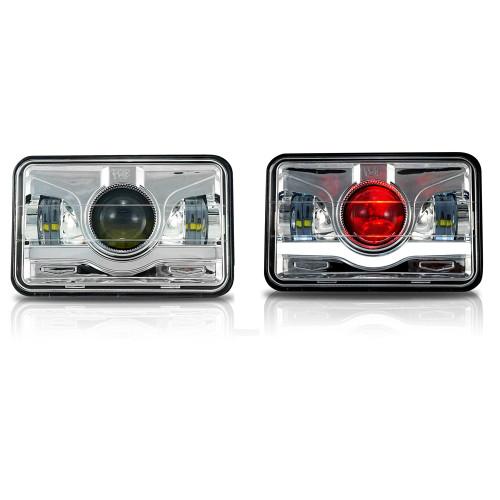 4x6 LED Projector Demon DRL Eyes Headlights Chrome Set